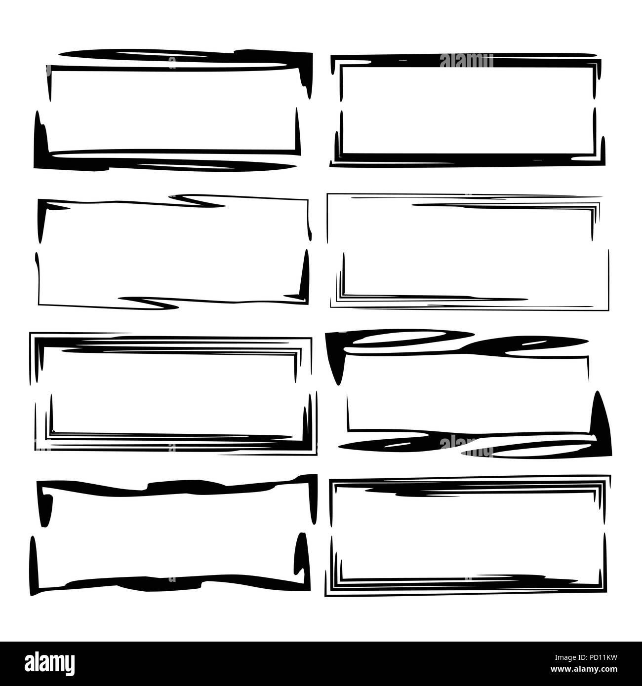 Set of rectangle grunge frames. Geometric empty borders. Template ...