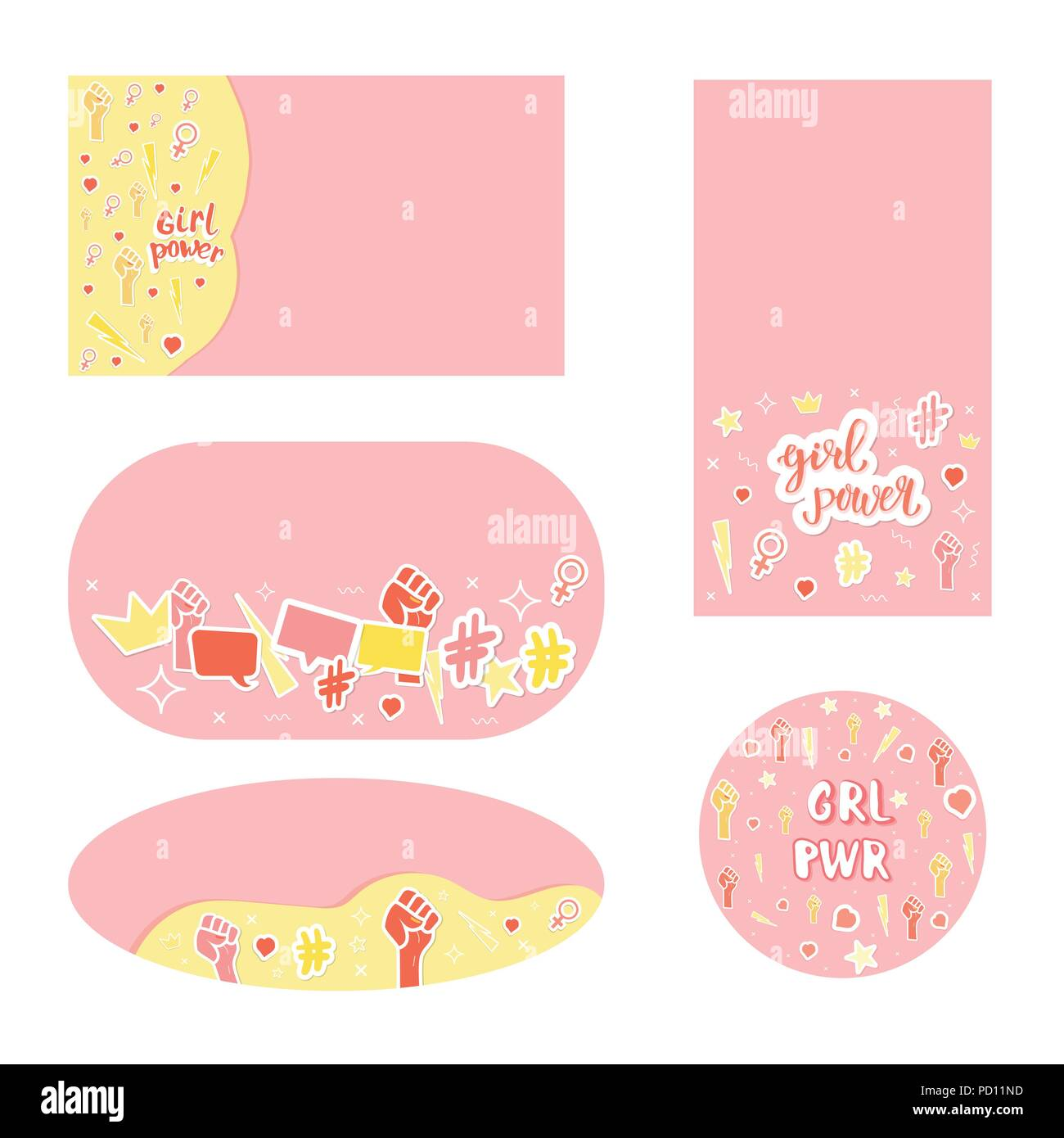 Set Of Girl Power Compositions Stickers Card Geometric Shapes Pd Simple Backgrounds With Items And Lettering Template For Graphic Design Social Med