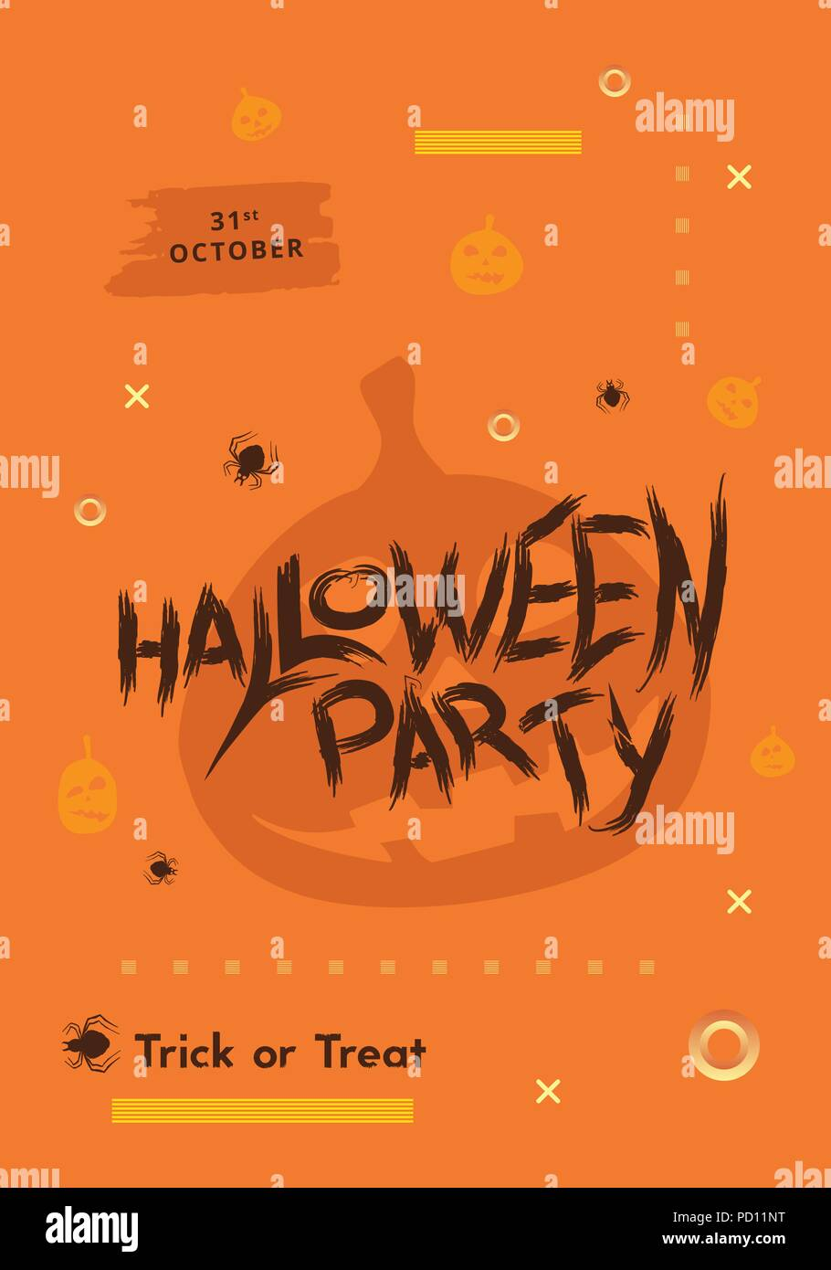 halloween party poster with pumpkin silhouette and decoration happy