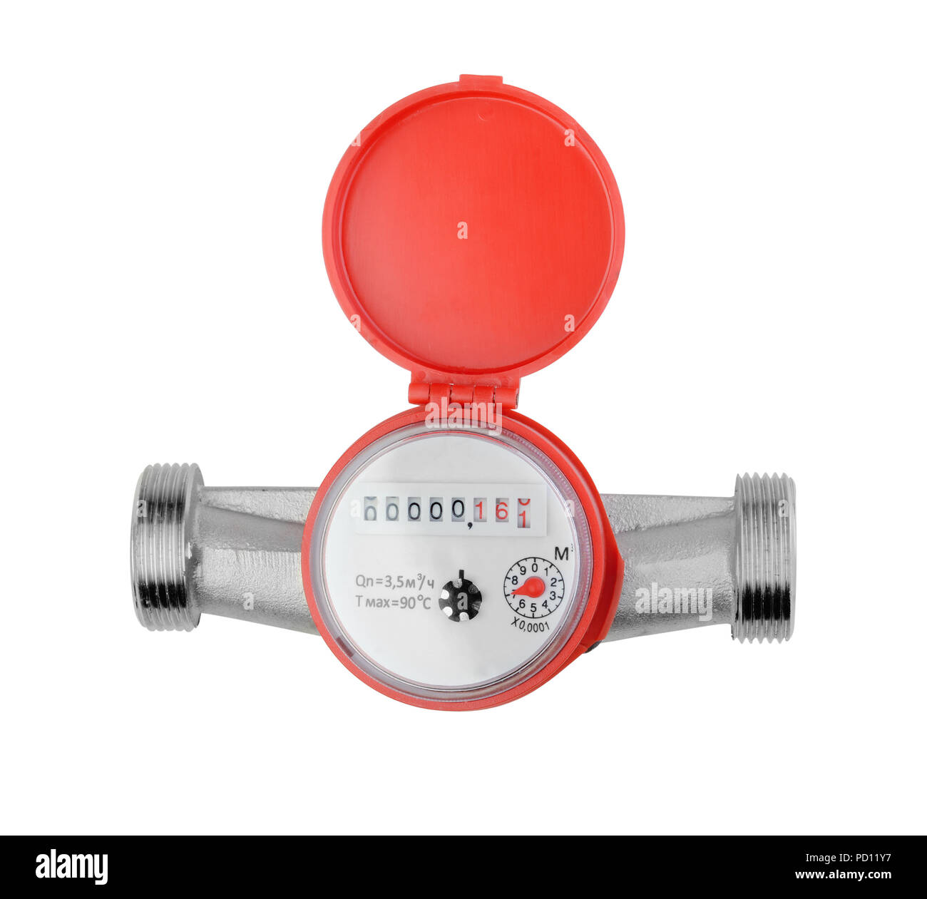 Water meter isolated on white background - Stock Image