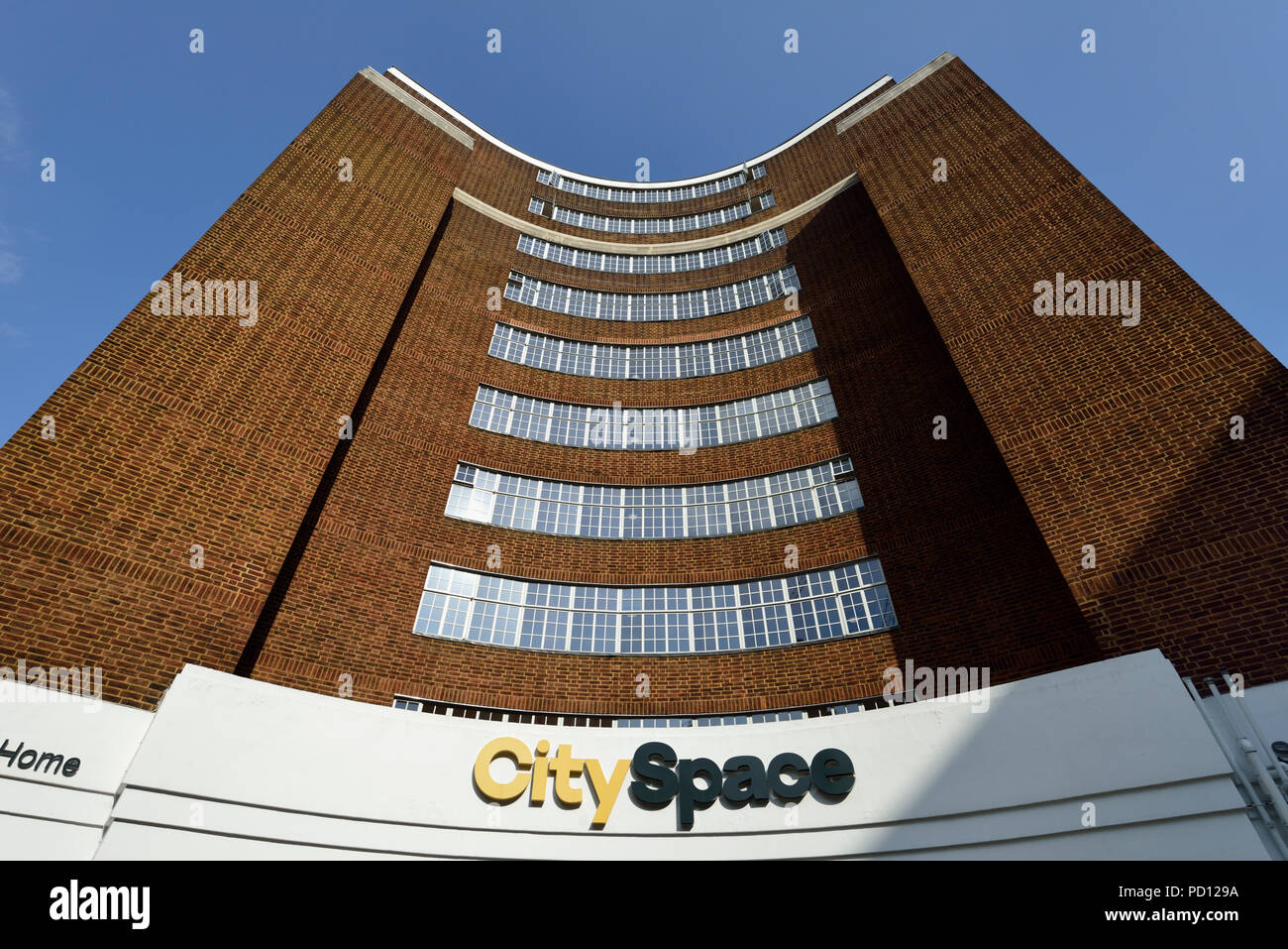 Art Deco facade, CitySpace Bloomsbury, Woburn Place, Russell Square, London, United Kingdom - Stock Image