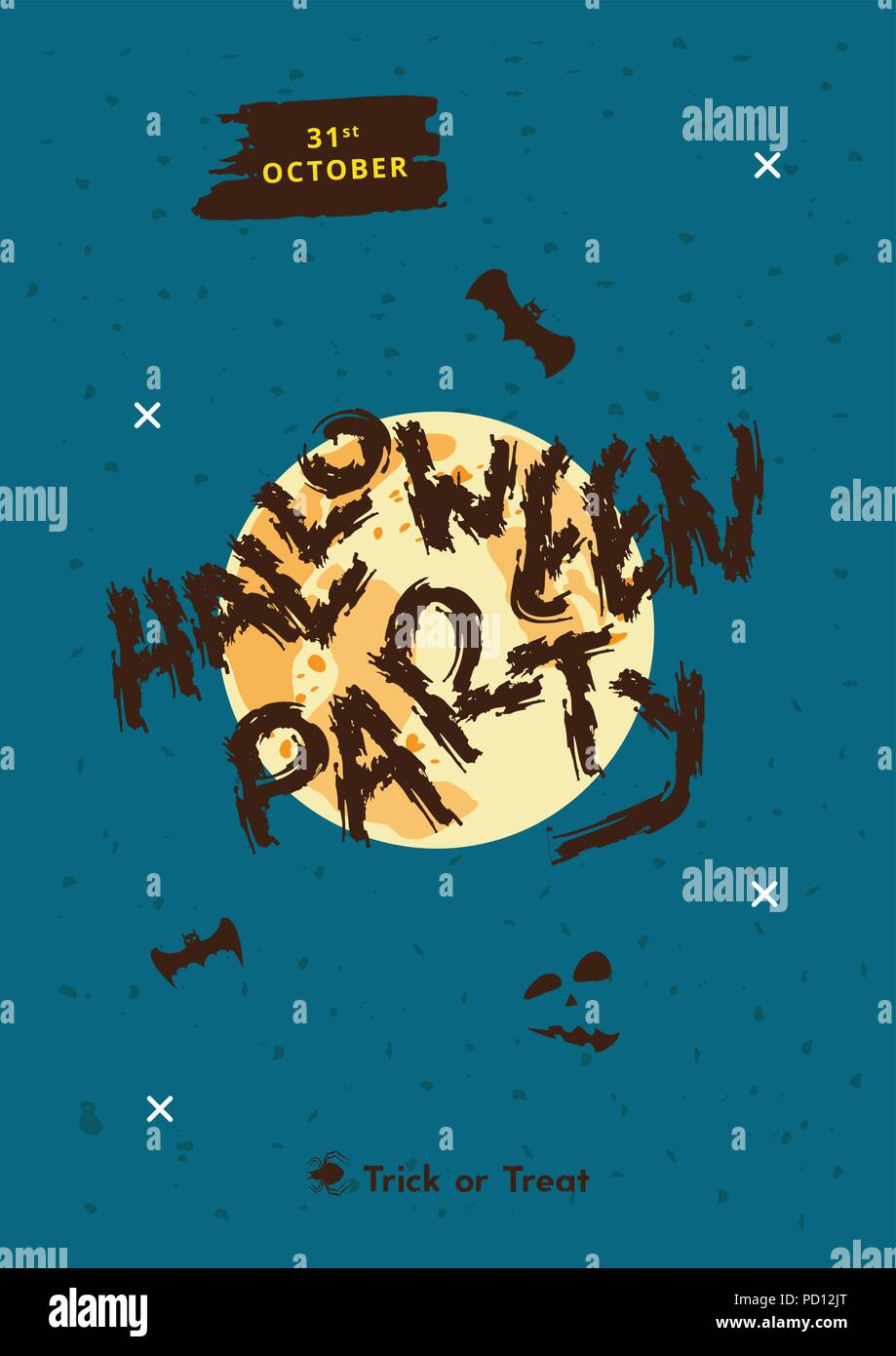 halloween party poster with moon silhouette and decoration happy