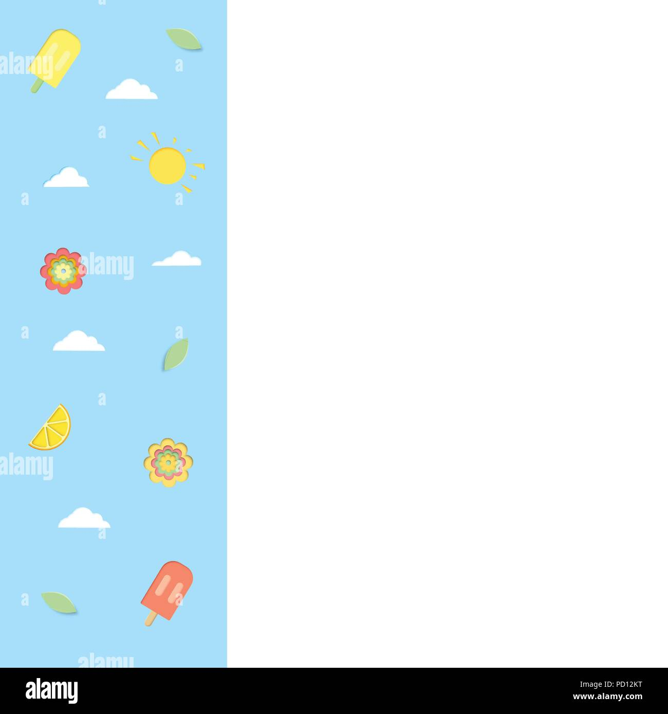 Template With Paper Cut Ice Cream Clouds Flowers Papercut Summer