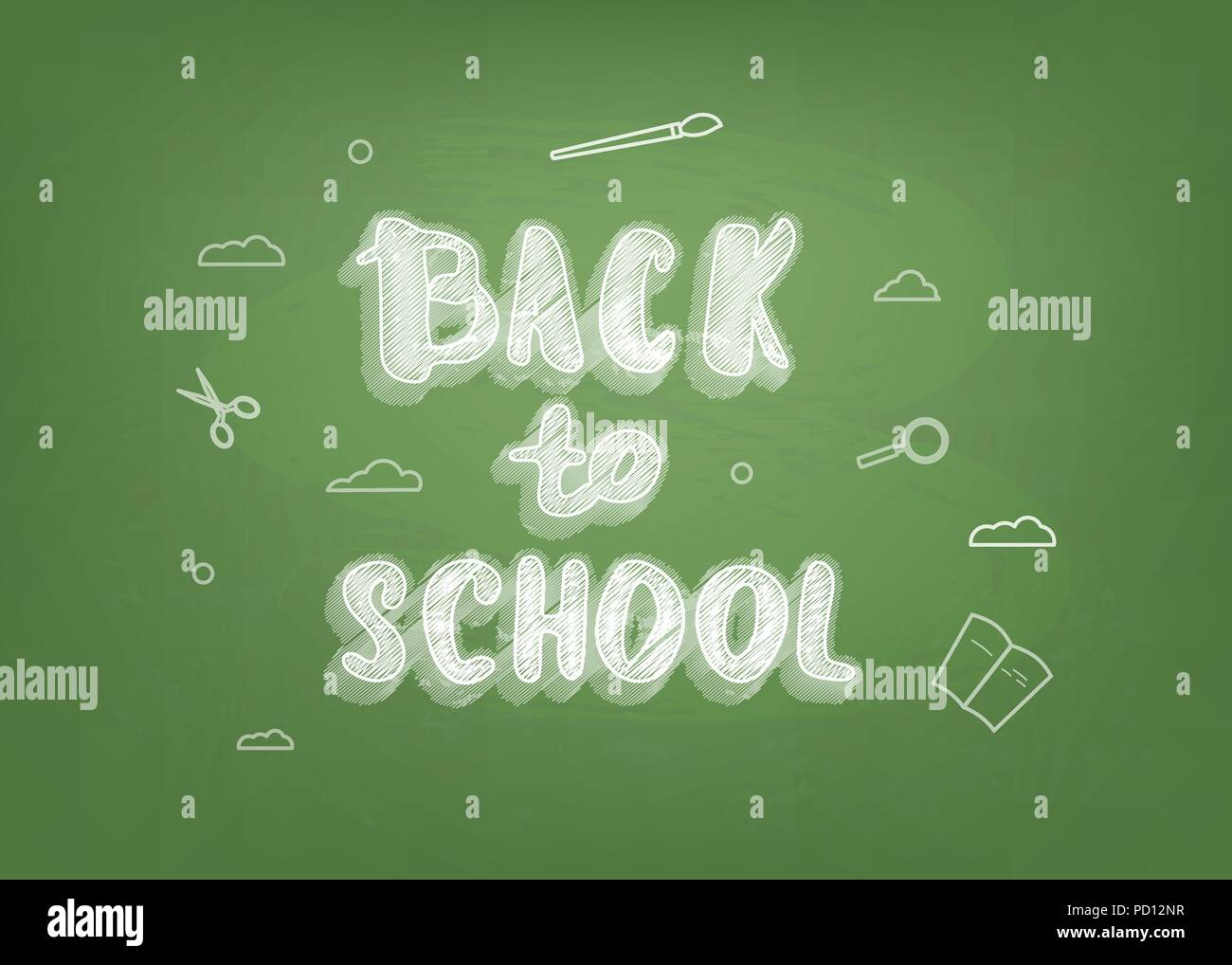 Back To School Chalk Lettering On Green Chalkboard Template For Season Promotion Cards Education Banner With Decoration Vector Illustration