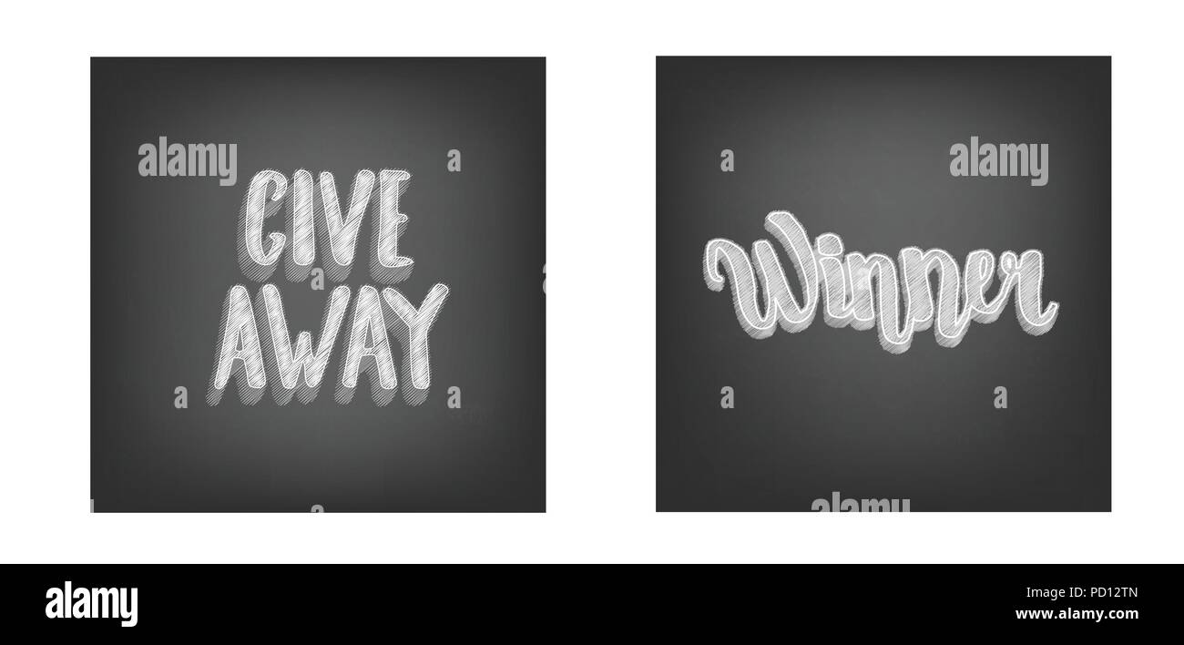 giveaway and winner retro cards with handwritten chalk lettering