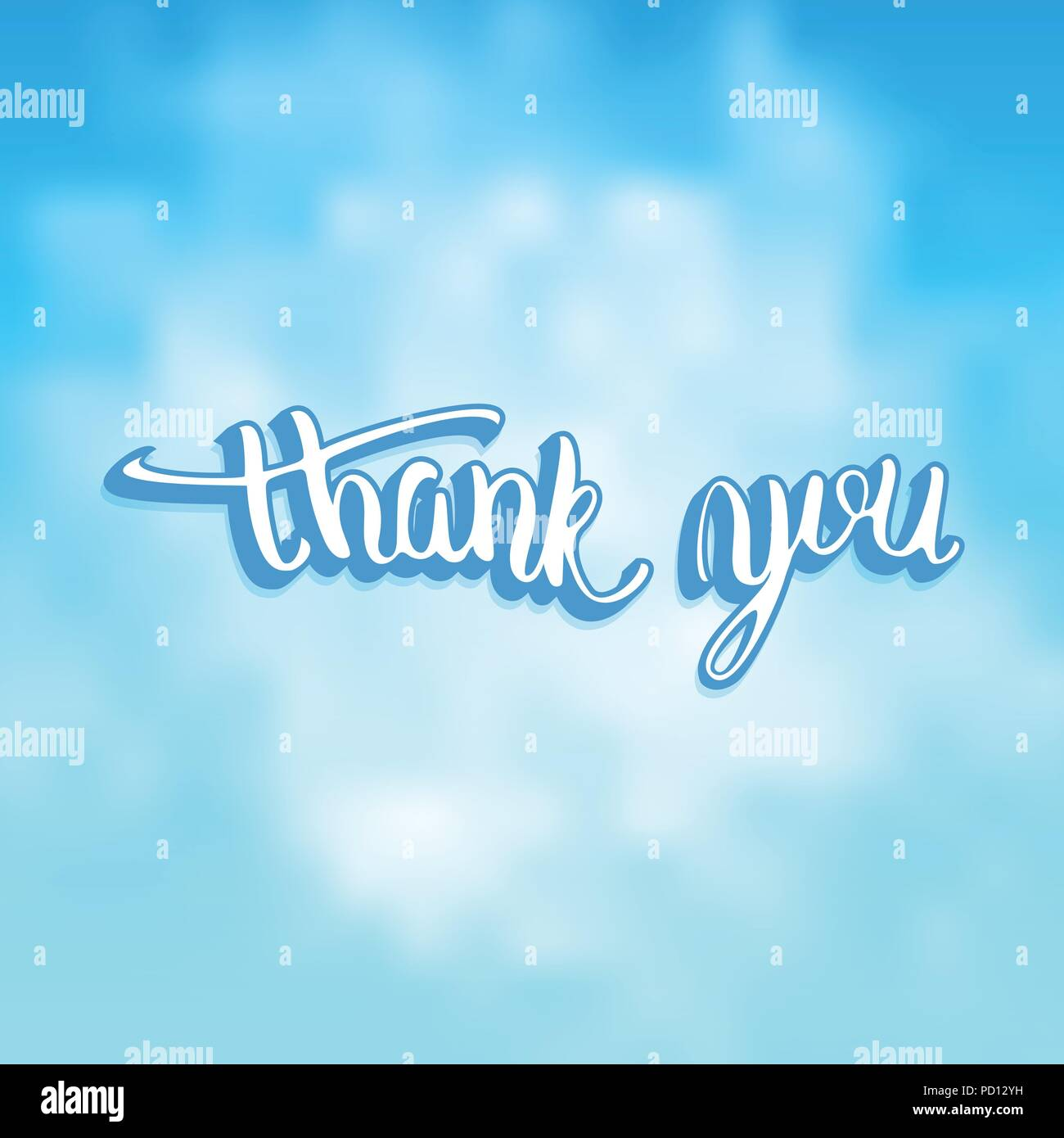 Thank You Card Banner With Handwritten Lettering Thank You Phrase