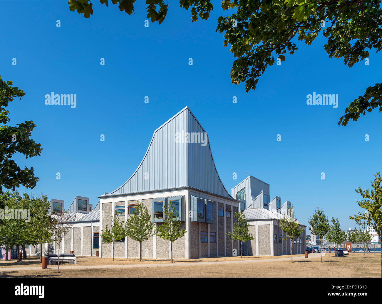The Utzon Center, Aalborg, Denmark. The 2008 building was designed by Danish architect Jørn Utzon, who famously designed the Sydney Opera House. - Stock Image