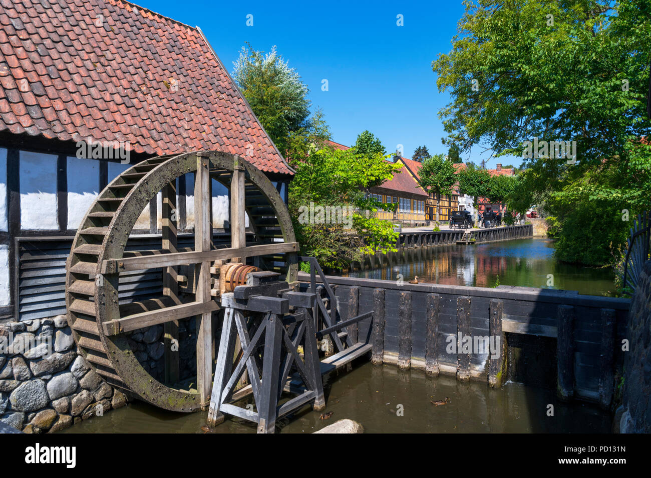 Watermill in The Old Town (Den Gamle By), an open air museum in Aarhus, Denmark Stock Photo
