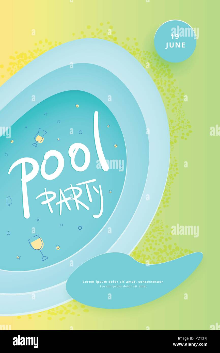 Pool party flyer vertical celebration banner with paper cut shapes pool party flyer vertical celebration banner with paper cut shapes and decoration template for event design vector illustration maxwellsz
