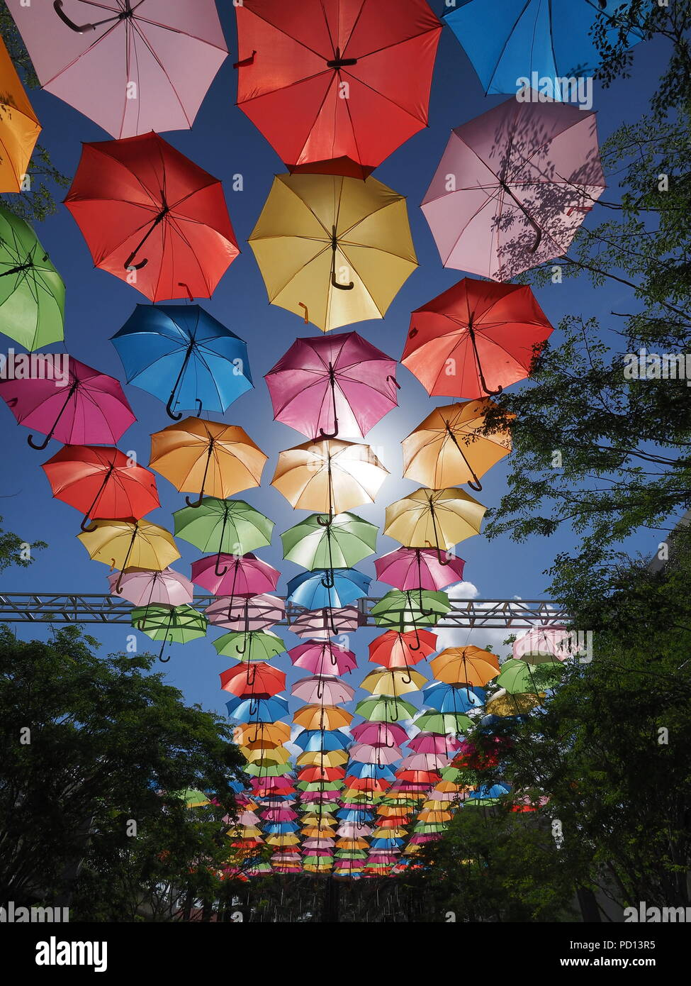 Umbrella Sky in Coral Gables, Florida, a joint art project by the City of Coral Gables and the Portuguese company Sextafeira. Stock Photo