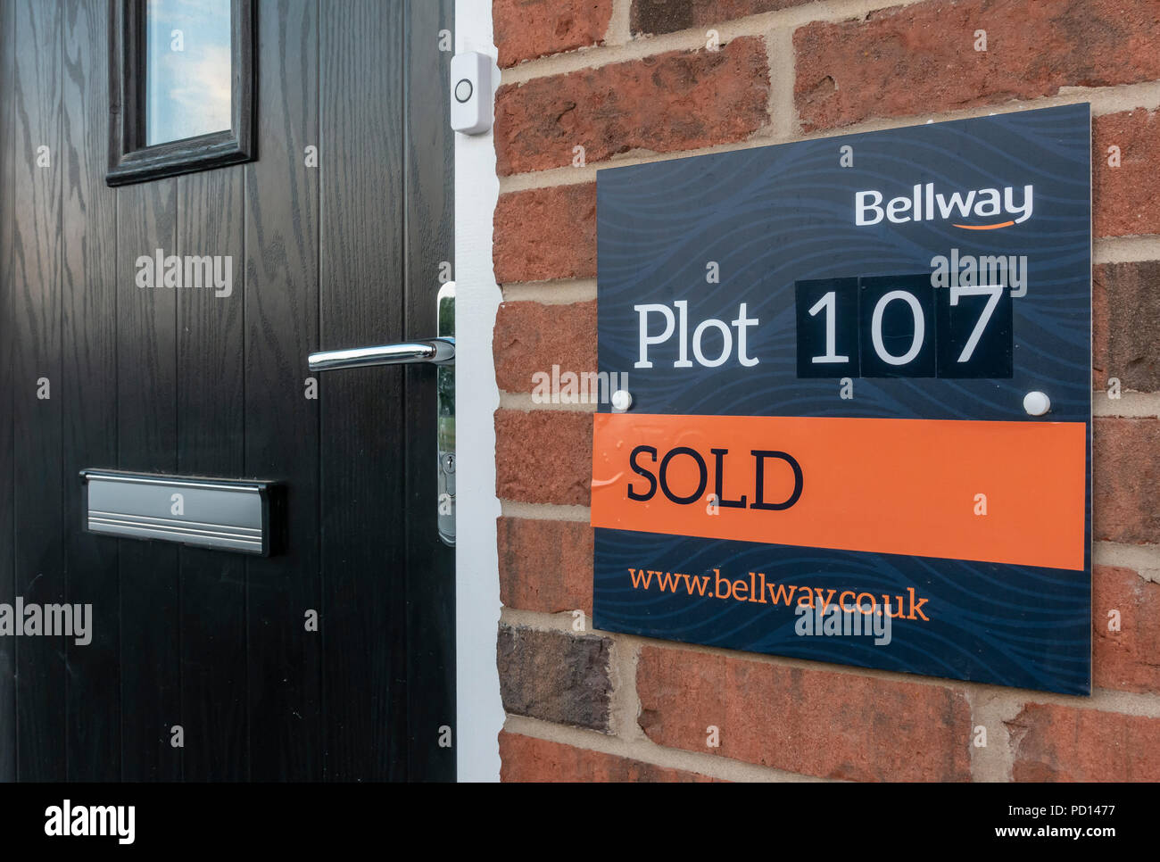 Sold sign on a new Bellway development housing estate plot - Stock Image