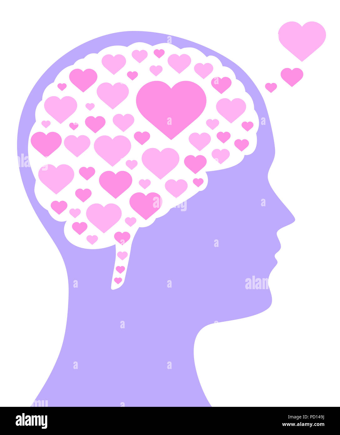 Pink colored hearts in a brain shape and in the purple silhouette of a head. A symbol for falling or being in love, liking, emotions and affection. - Stock Image