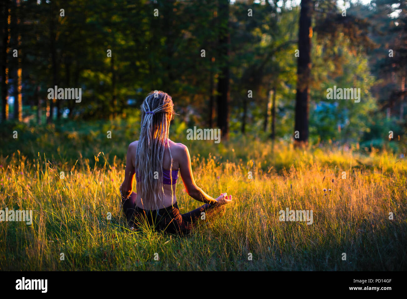 Yoga Woman Silhouette In Lotus Pose Sitting On A Picturesque Glade In A Green Forest Stock Photo Alamy