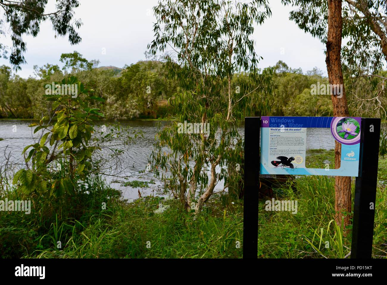 Windows on the water sign, Booroona walking trail on the Ross River, Rasmussen QLD 4815, Australia Stock Photo