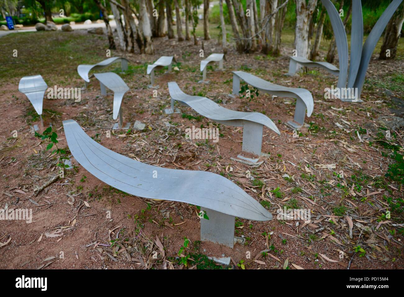 Artwork in the Apex park, Booroona walking trail on the Ross River, Rasmussen QLD 4815, Australia - Stock Image