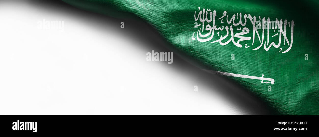 Fabric texture flag of Saudi Arabia on white background - Stock Image