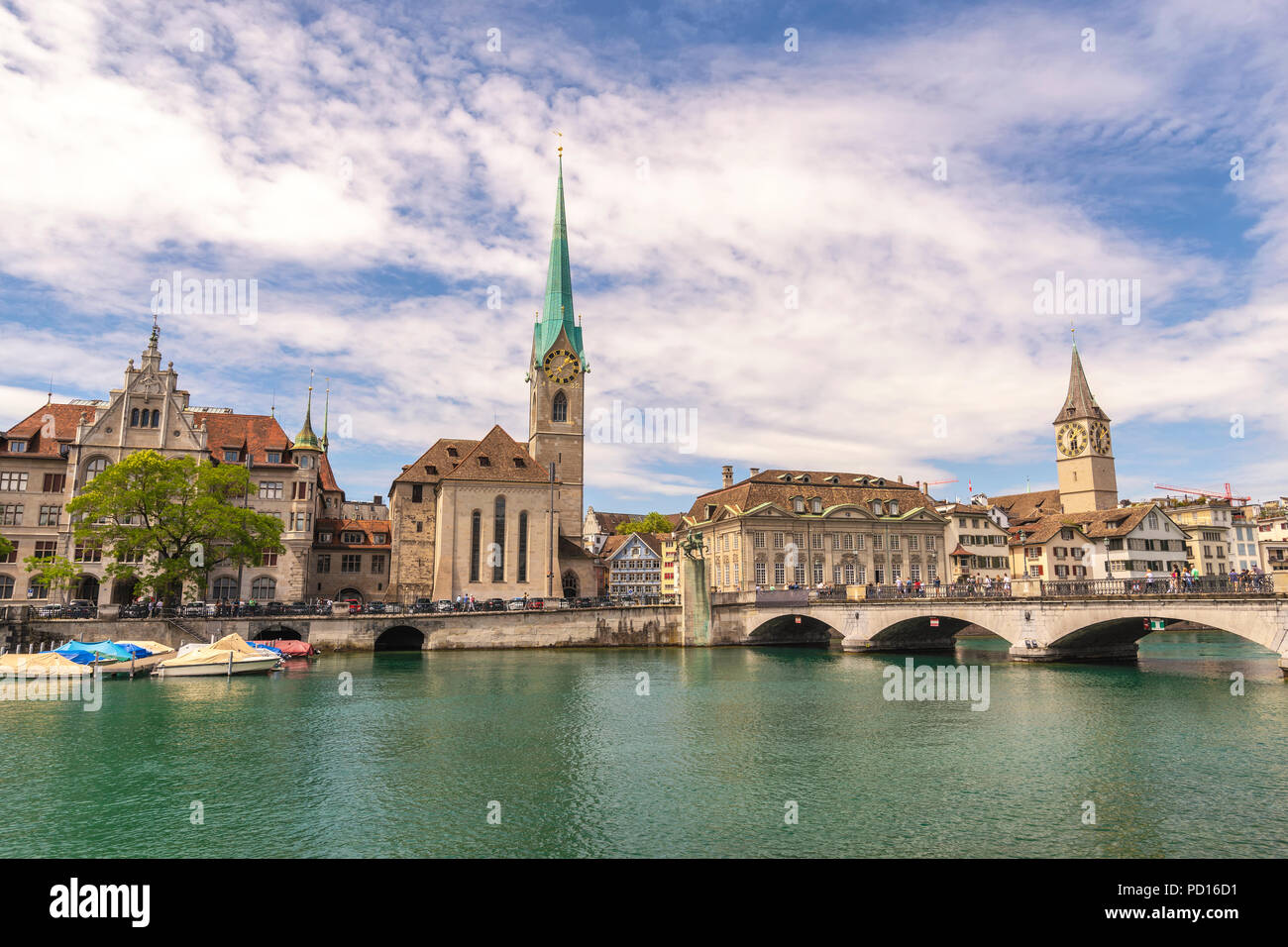 Zurich city skyline at Limmat River with Fraumunster Church, Zurich Switzerland - Stock Image