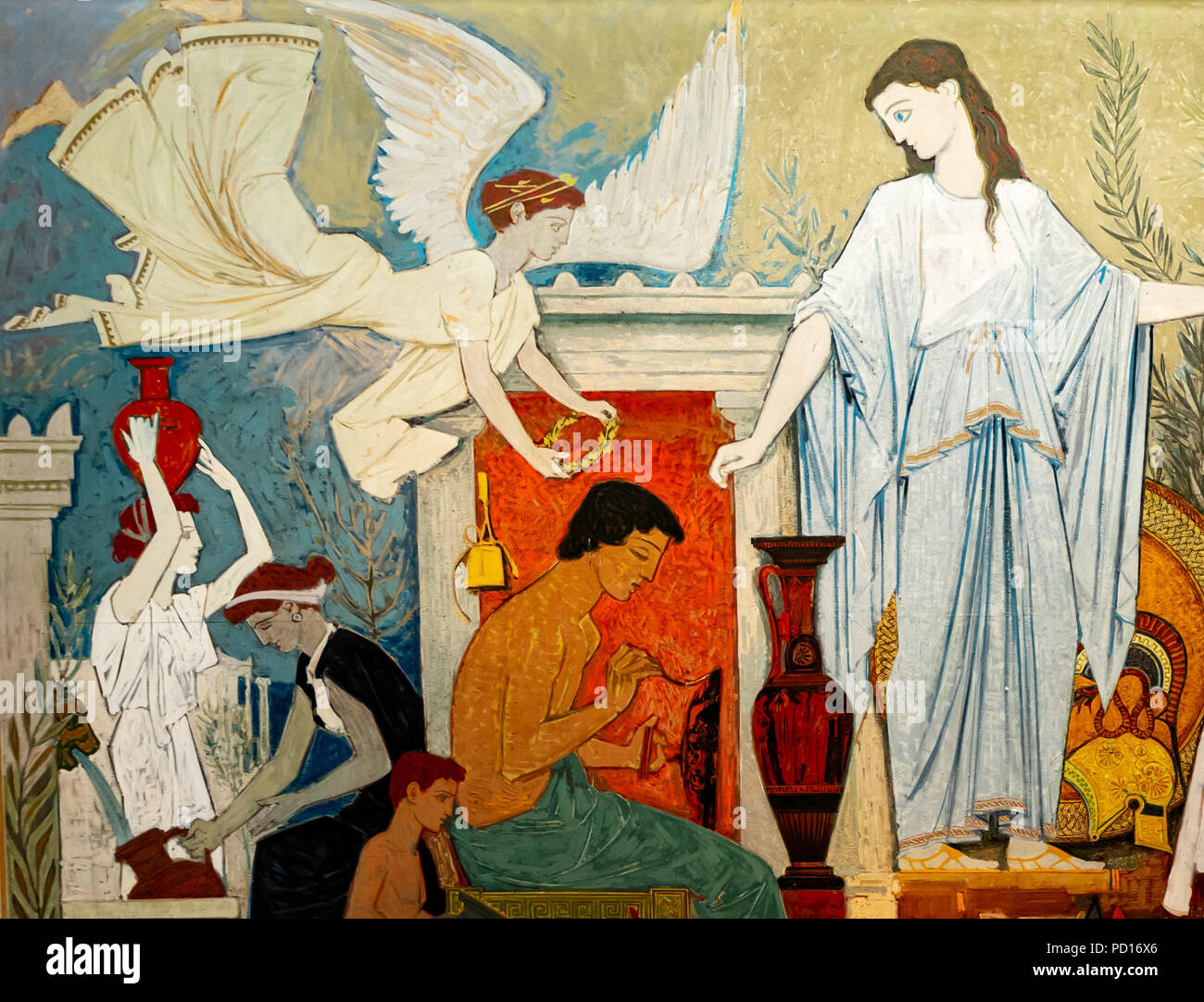 The Greek Spirit, Unlabled painting of winged gods, servants, and Athena. - Stock Image