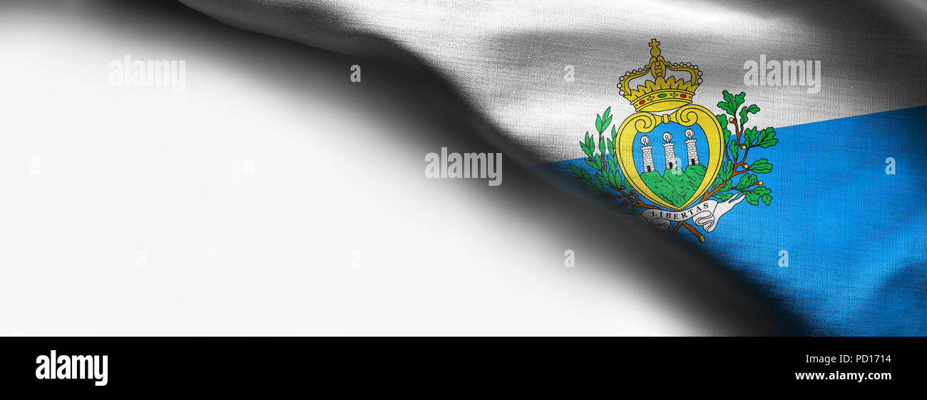 San Marino waving flag on white background - Stock Image
