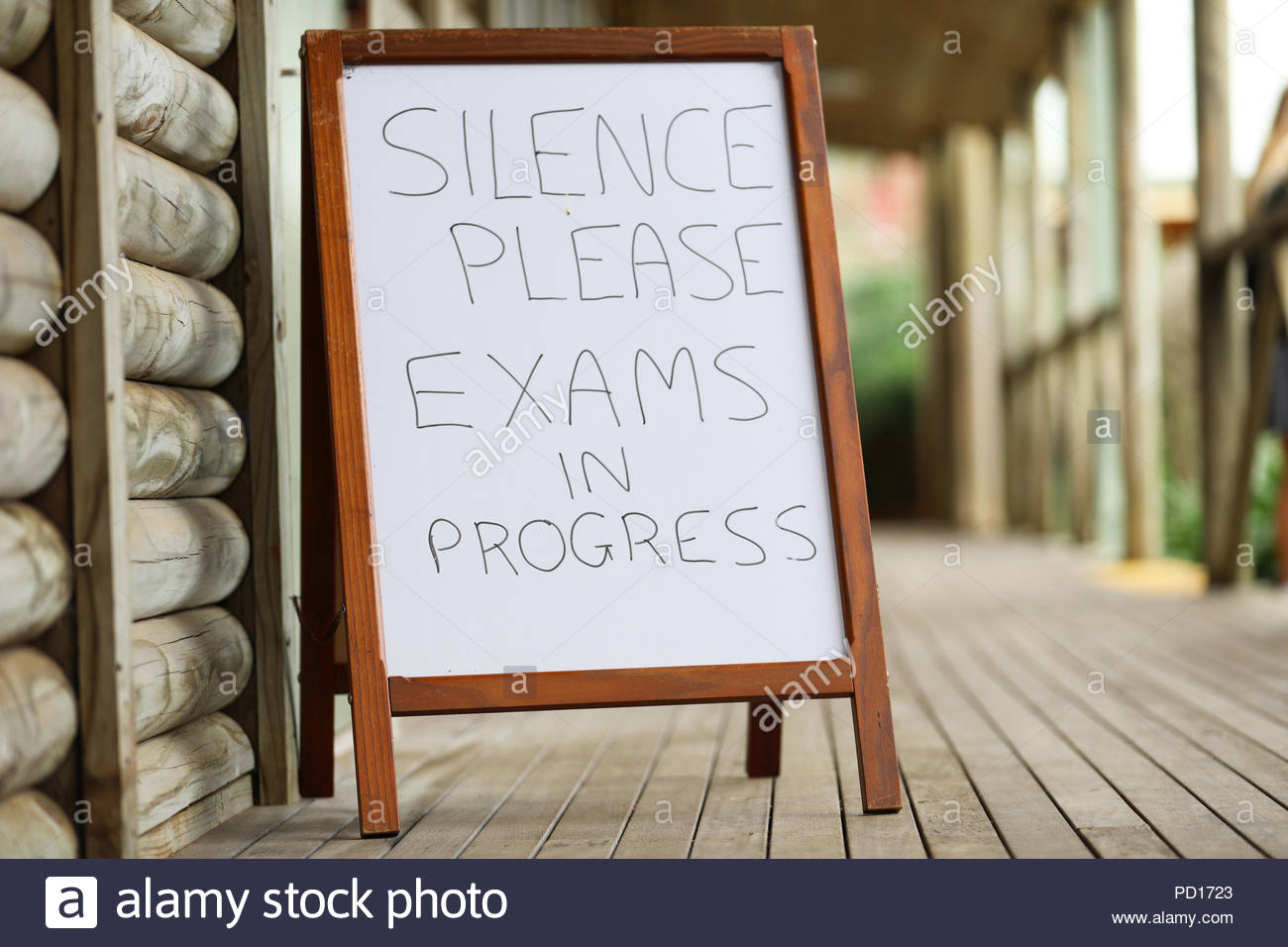 silence exam sign outside a class room. exams time at school. major end of year school university entrance assessment examinations. senior secondary h - Stock Image