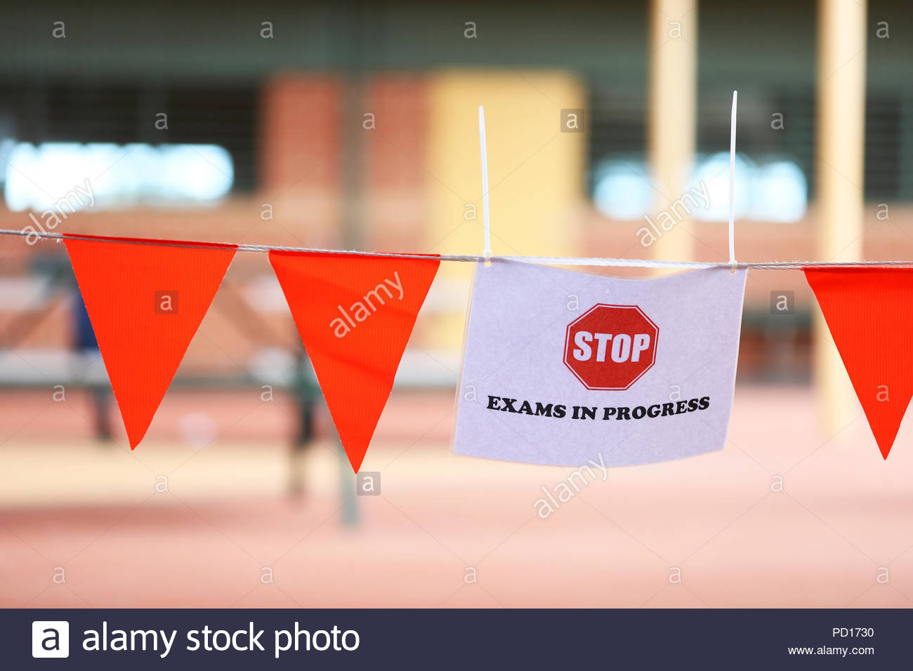 stop exam sign outside a class room. exams time at school. major end of year school university entrance assessment examinations. senior secondary high - Stock Image