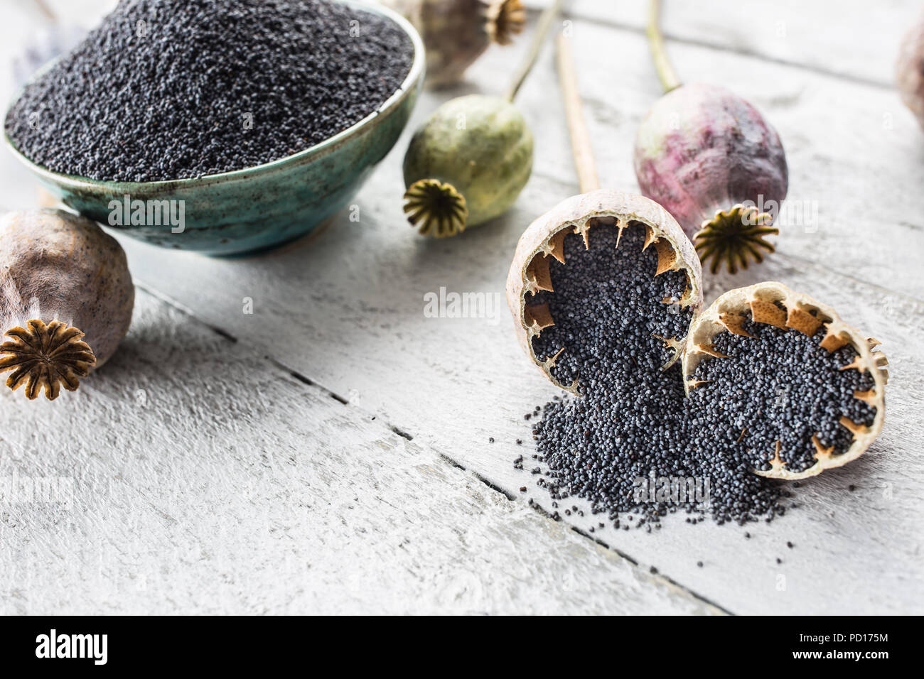 Poppy seed with their heads on wooden boards. - Stock Image