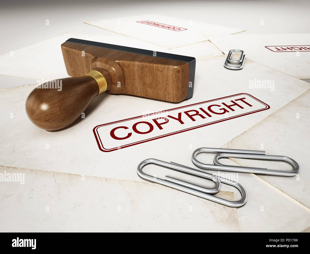 Copyright stamp standing on documents. 3D illustration. - Stock Image