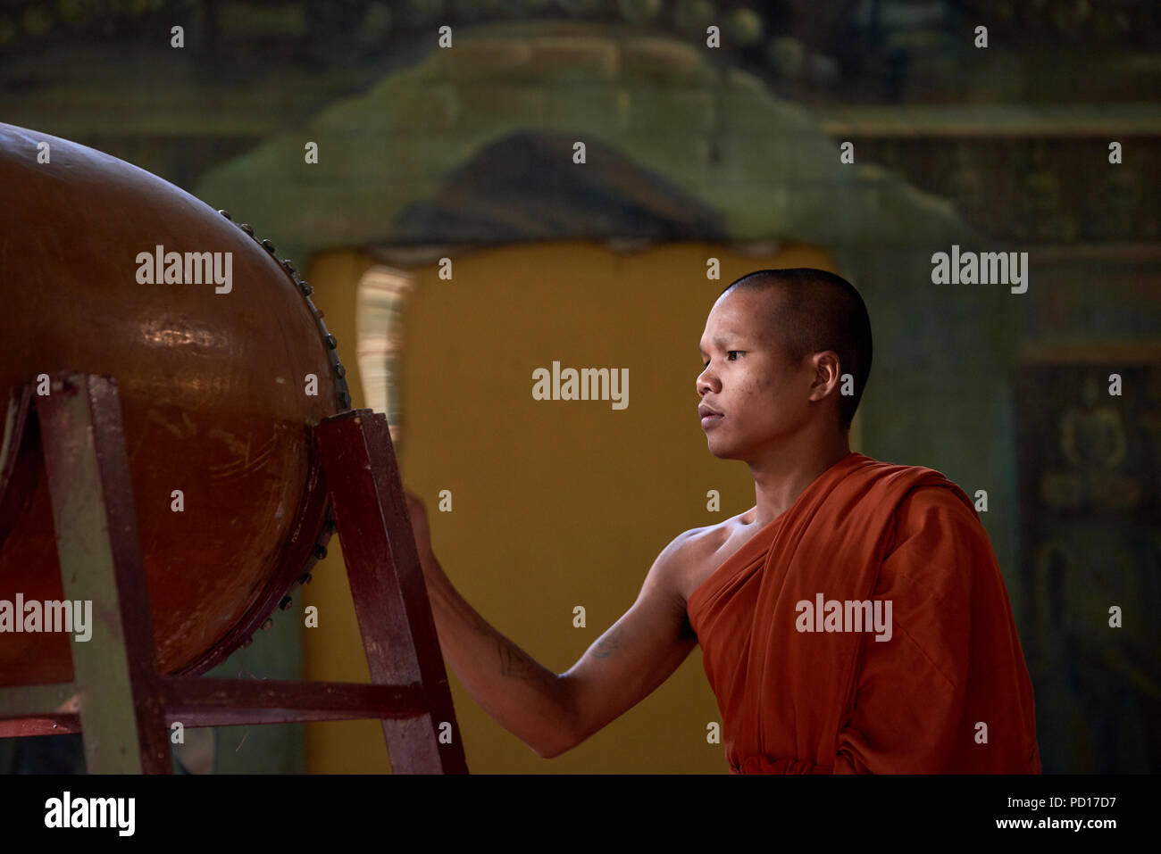 A young Buddhist monk playing a tambour during a ceremony at a monastery in Siem Reap, Cambodia. - Stock Image