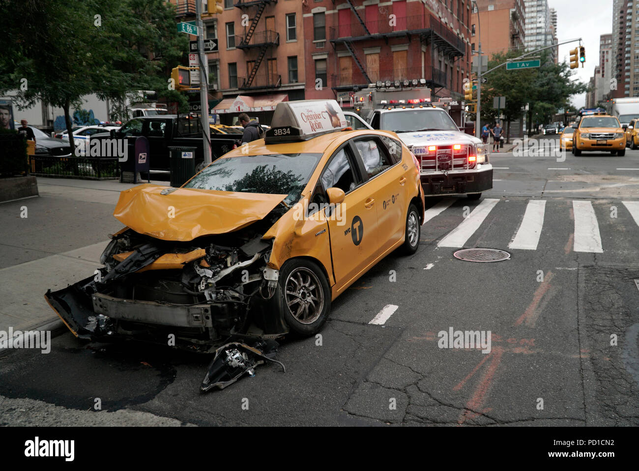 New York, New York, USA  4th Aug, 2018  Taxi accident