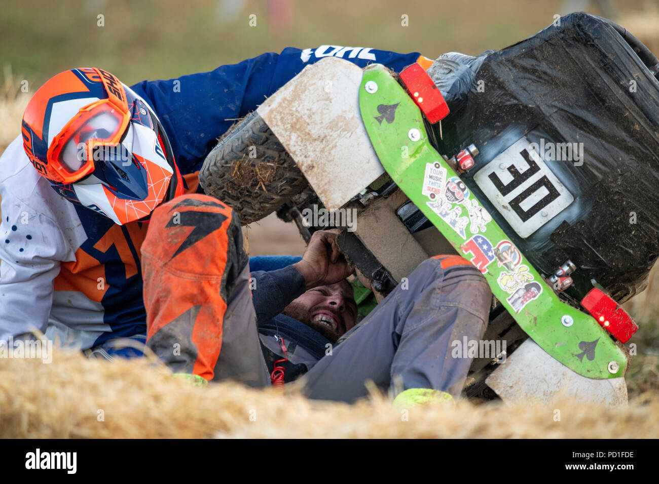 The 12 hour endurance lawnmower race, organised by the British Lawn Mower Racing Association, started at 8pm on Saturday and teams from around the world raced through the night to the finish line at 8am Sunday morning. Credit: Richard Grange/Alamy Live News - Stock Image