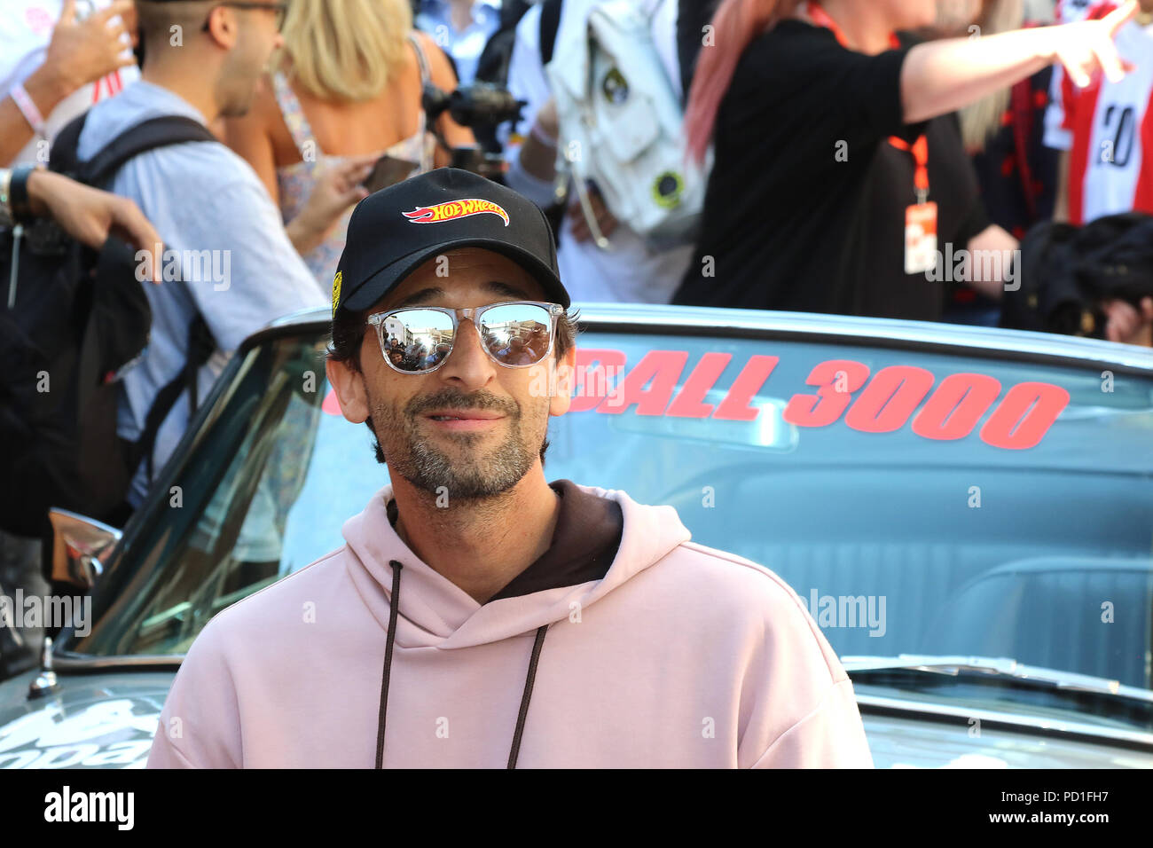 London, UK. 05th Aug, 2018. Adrien Brody, Gumball 3000 launch and flag drop, Covent Garden, London, UK, 05 August 2018, Photo by Richard Goldschmidt, Celebs come together for an epic road trip driving from London to Tokyo in just 7 days to raise money for the Gumball 3000 Foundation to support a variety of youth-based projects in low-income communities. Credit: Rich Gold/Alamy Live News - Stock Image