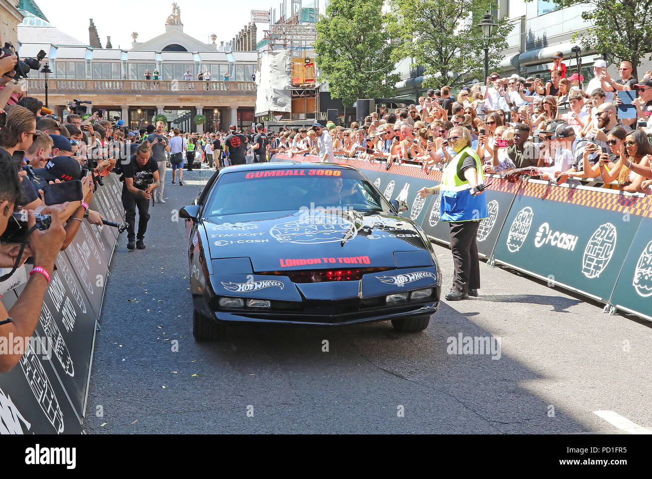 london, uk. 05th aug, 2018. knight rider kit car, gumball 3000