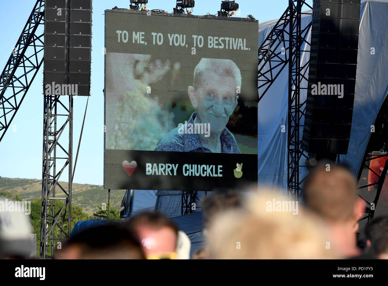 Tribute to Barry Chuckle at Bestival, Dorset, UK Credit: Finnbarr Webster/Alamy Live News - Stock Image