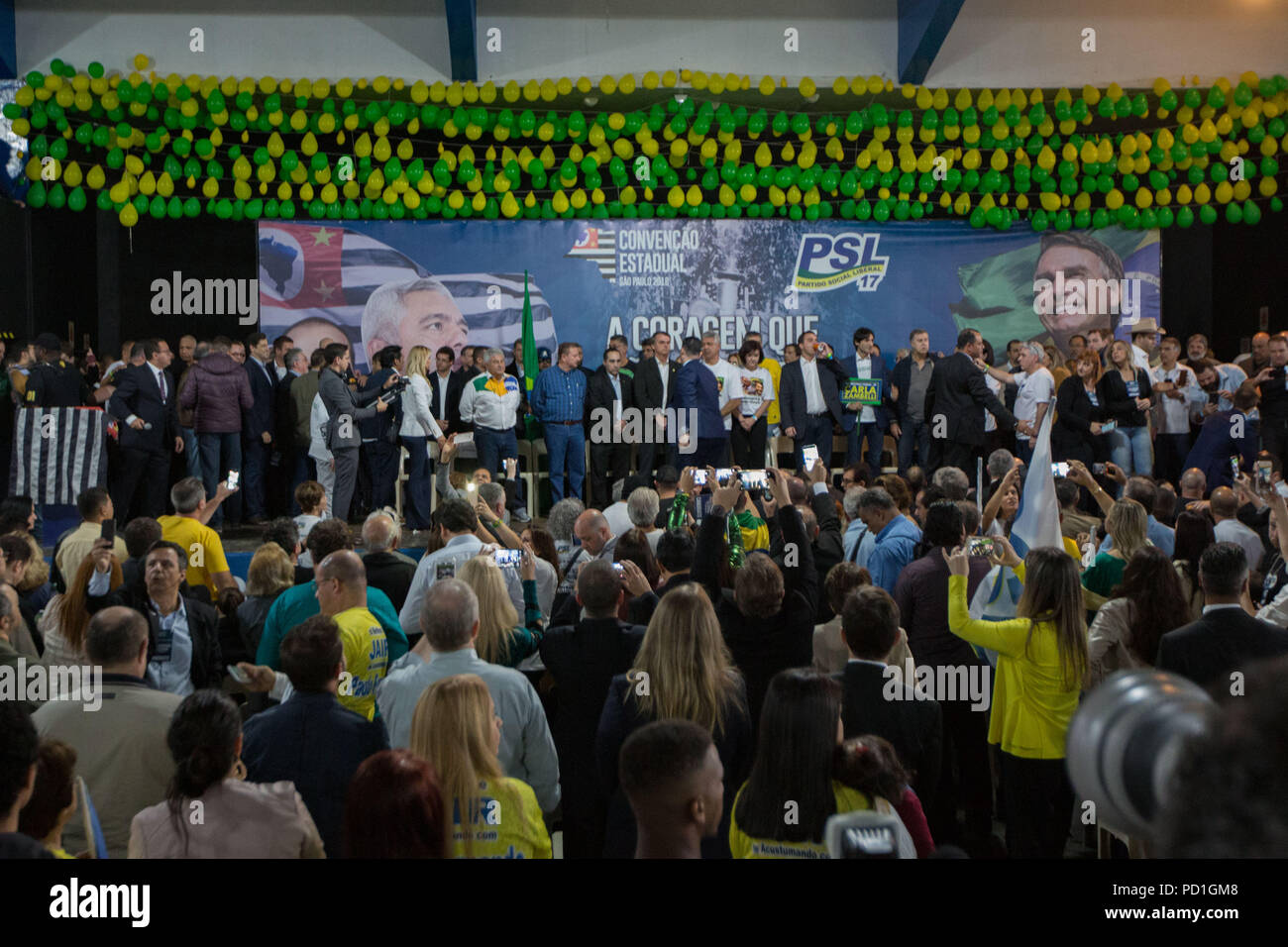 Sao Paulo, Sao Paulo, Brazil. 5th Aug, 2018. PSL (Social Liberal Party) convention in São Paulo, Brazil. The party candidates for president, deputy and senator attended the event. Credit: Paulo Lopes/ZUMA Wire/Alamy Live News - Stock Image