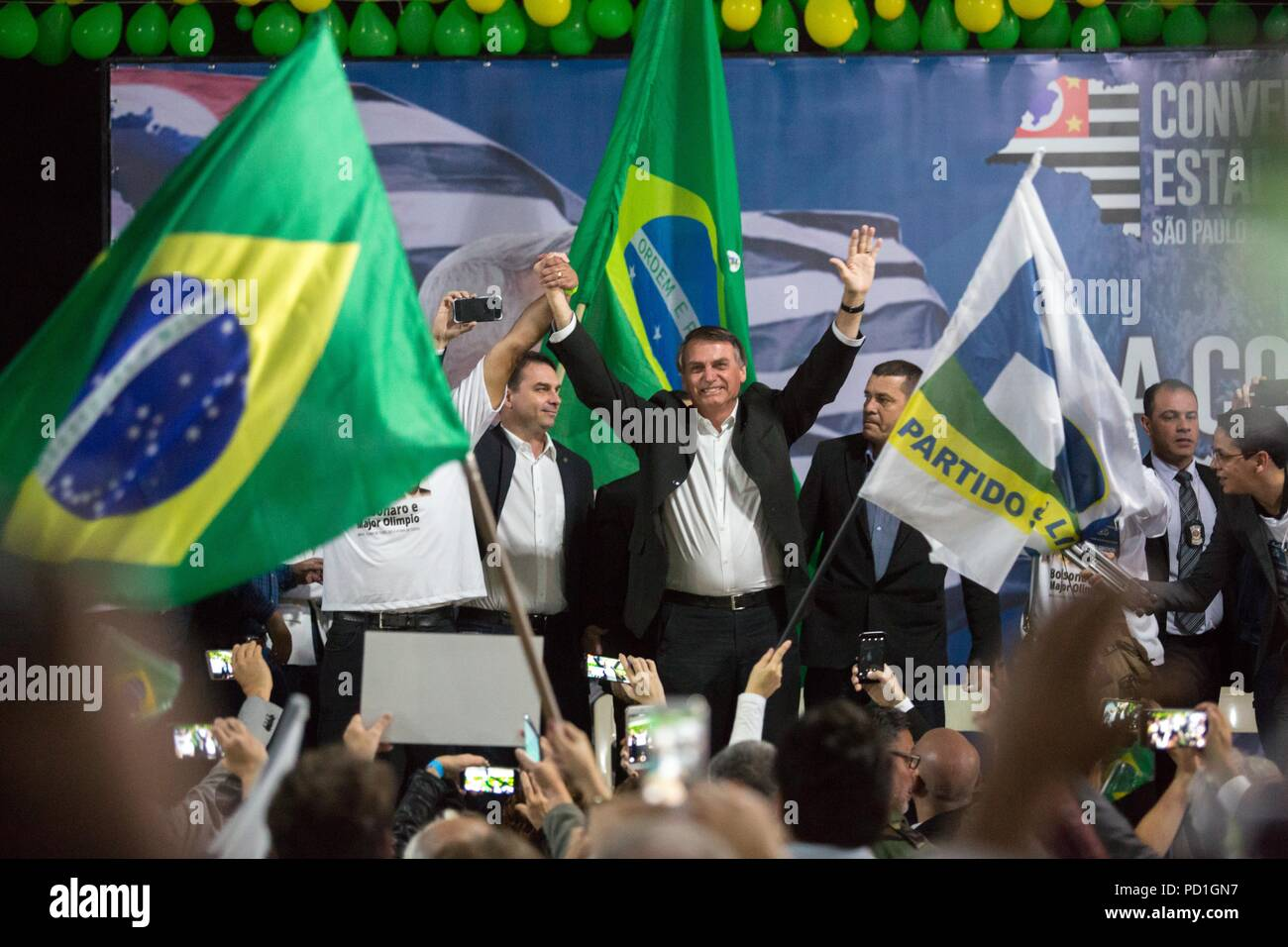 Sao Paulo, Sao Paulo, Brazil. 5th Aug, 2018. JAIR BOLSONARO, candidate for president of Brazil participates in the convention of the PSL (Social Liberal Party), in Sao Paulo, Brazil. The party candidates for deputy and senator attended the event. Credit: Paulo Lopes/ZUMA Wire/Alamy Live News - Stock Image