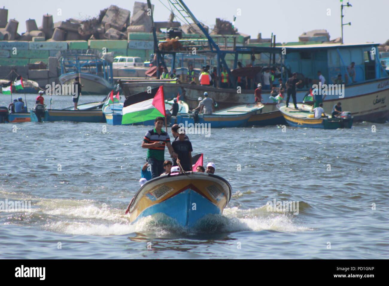 Gaza City, The Gaza Strip, Palestine. 5th Aug, 2018. Boat carrying ...