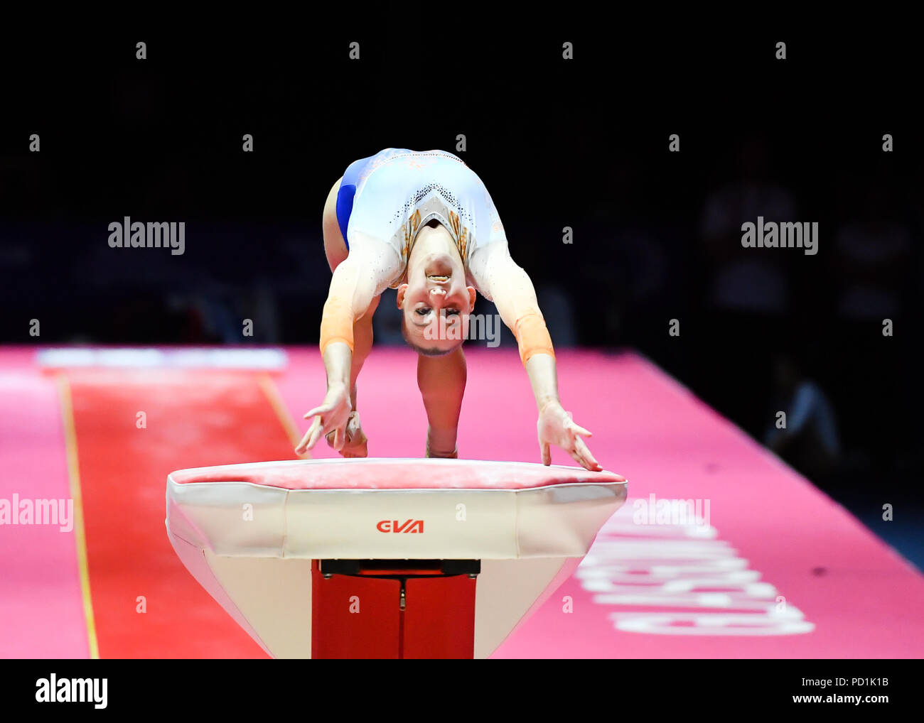 VOLLEMAN Tisha (NED) competes on the Vault in Women's Artistic Gymnastics Apparatus  Finals during the European Championships Glasgow 2018 at The SSE Hydro on Sunday, 05 August 2018. GLASGOW SCOTLAND . Credit: Taka G Wu - Stock Image