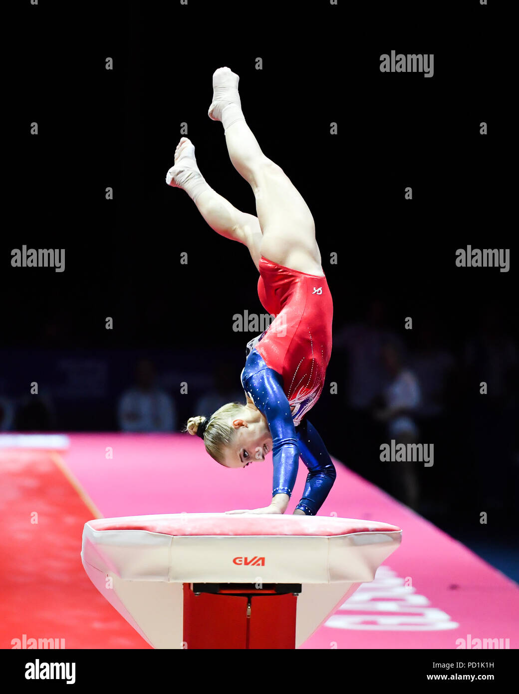 AKHAIMOVA Liliia (RUS) competes on the Vault in Women's Artistic Gymnastics Apparatus  Finals during the European Championships Glasgow 2018 at The SSE Hydro on Sunday, 05 August 2018. GLASGOW SCOTLAND . Credit: Taka G Wu - Stock Image