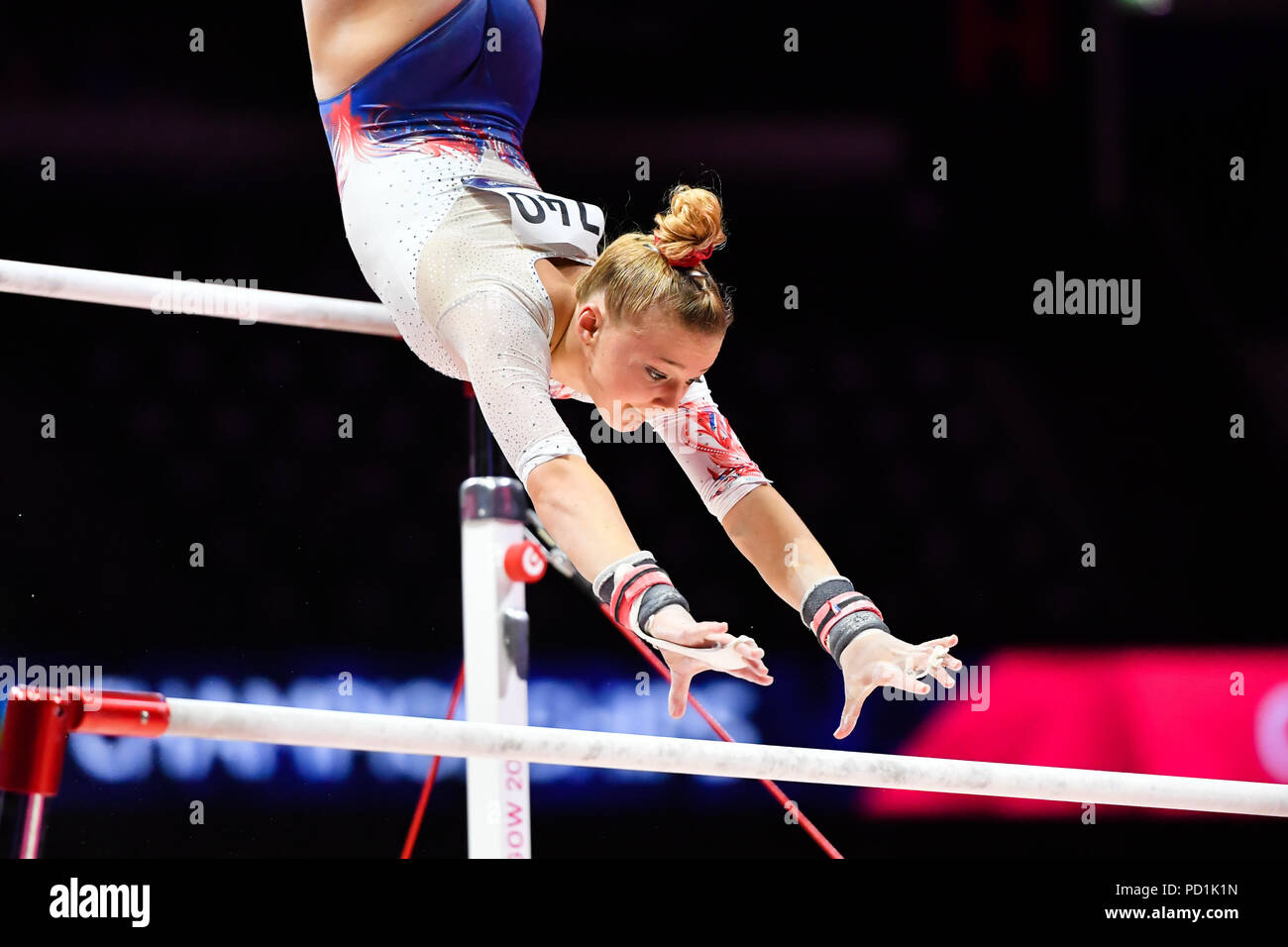 CHARPY Lorette (FRA) competes on the Vault in Women's Artistic Gymnastics Apparatus  Finals during the European Championships Glasgow 2018 at The SSE Hydro on Sunday, 05 August 2018. GLASGOW SCOTLAND . Credit: Taka G Wu - Stock Image