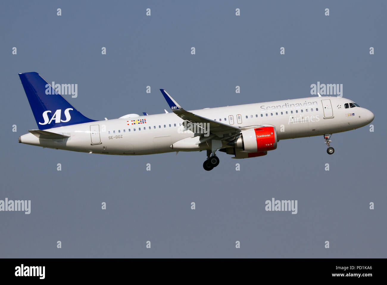 Milan, Italy. 4th Aug, 2018. A Scandinavian Airlines SAS Airbus 320 Neo at Milan Linate airport. Credit: Fabrizio Gandolfo/SOPA Images/ZUMA Wire/Alamy Live News - Stock Image