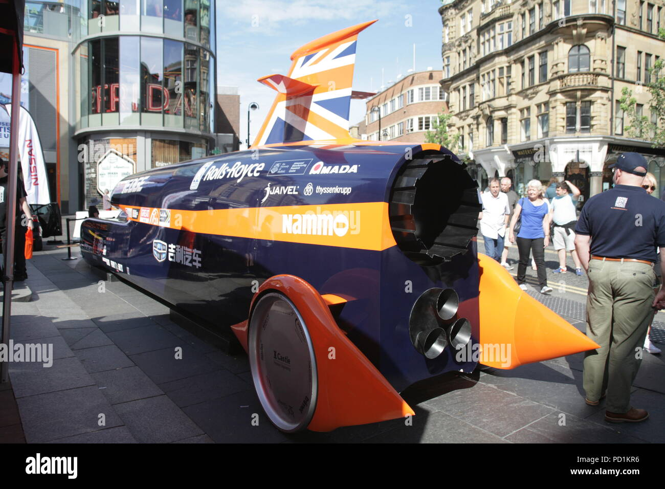 bloodhound ssc supersonic car. newcastle upon tyne, uk. 4th august