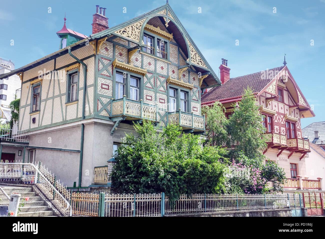 Luhacovice is a spa town in the Zlin Region, Moravia, Czech Republic. - Stock Image