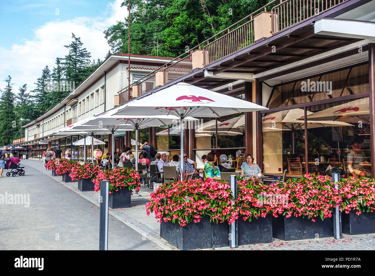 Colonnade, Luhacovice is a spa town in the Zlin Region, Moravia, Czech Republic. - Stock Image