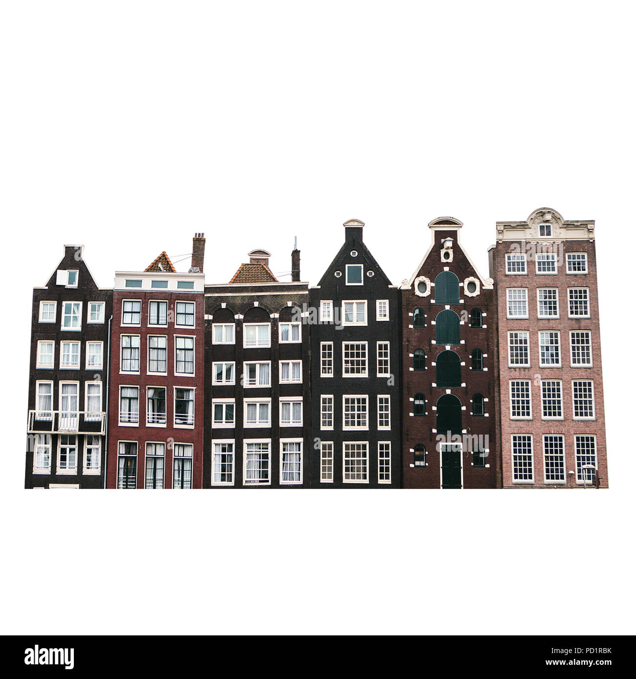 Traditional houses in Amsterdam in the Netherlands in a row isolated on white background. - Stock Image