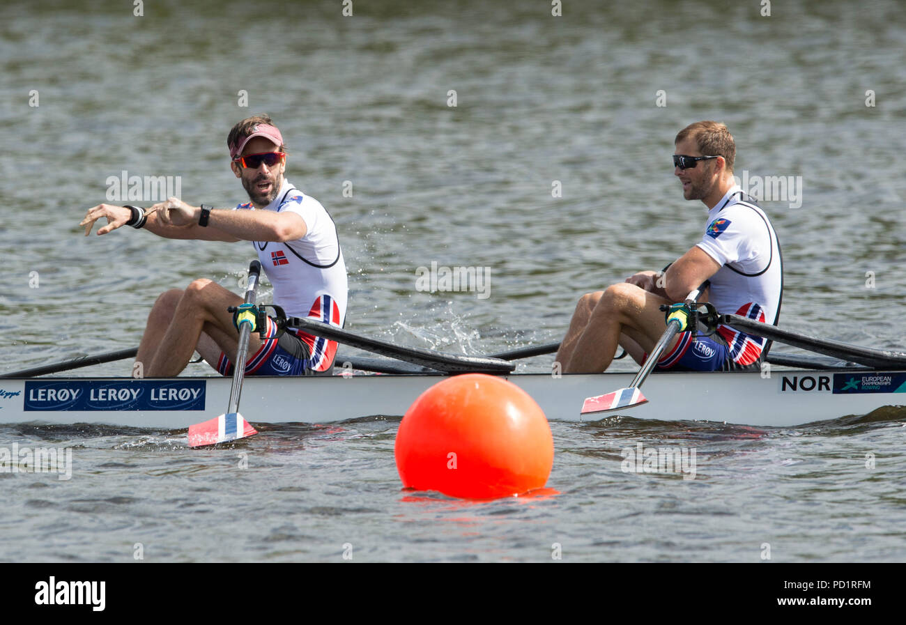 Rowing Championships Mens Four Stock Photos Boat Wire Diagram 1971 Winner Lightweight Double Sculls Final Norways Are Strandli And Kristoffer Brun Celebrate As They Cross The