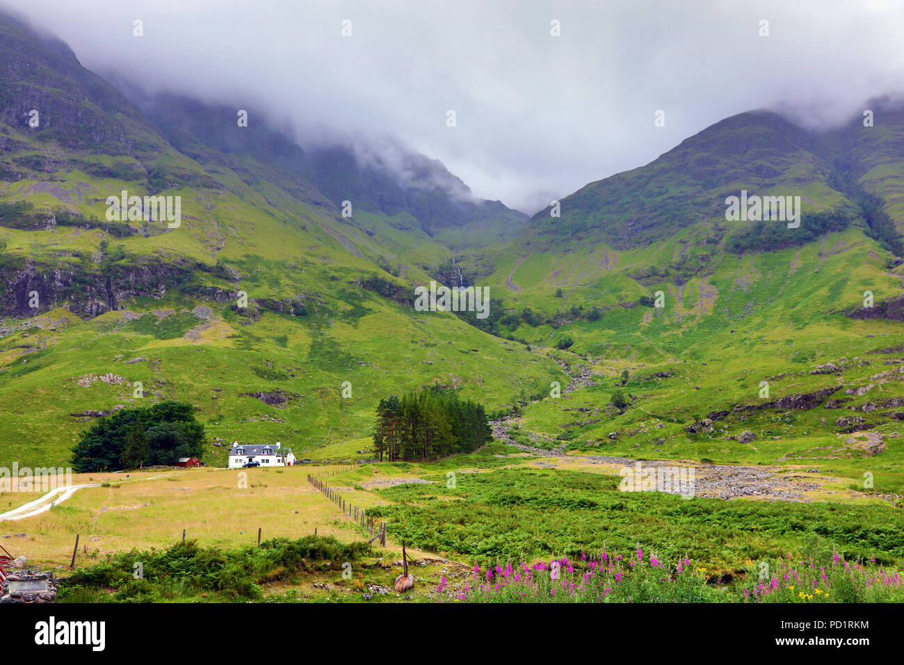 Mountains in Glen Coe in the Scottish Highlands, Scotland - Stock Image