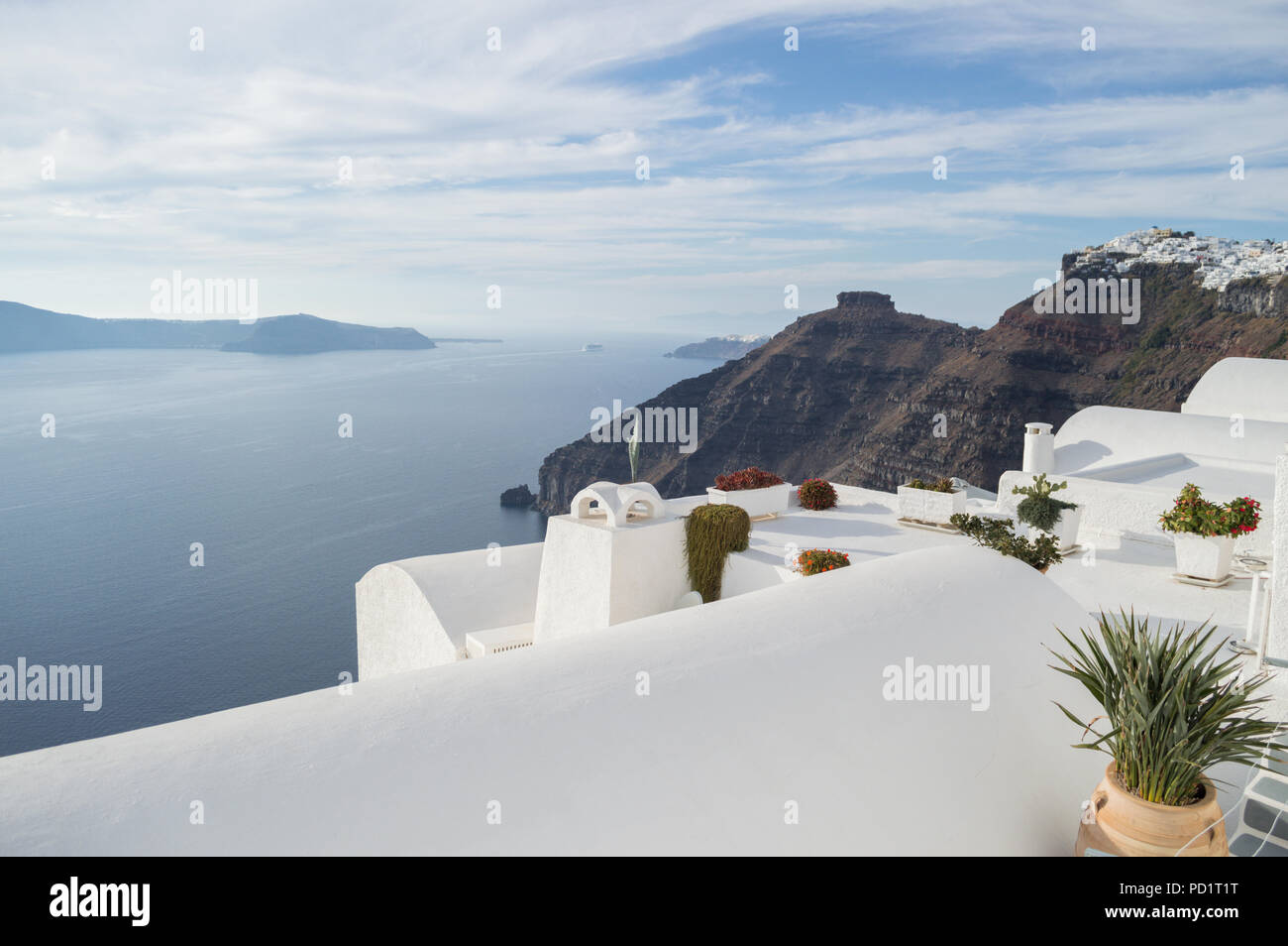 . Whitewashed Houses on Cliffs with Sea View in Fira  Santorini
