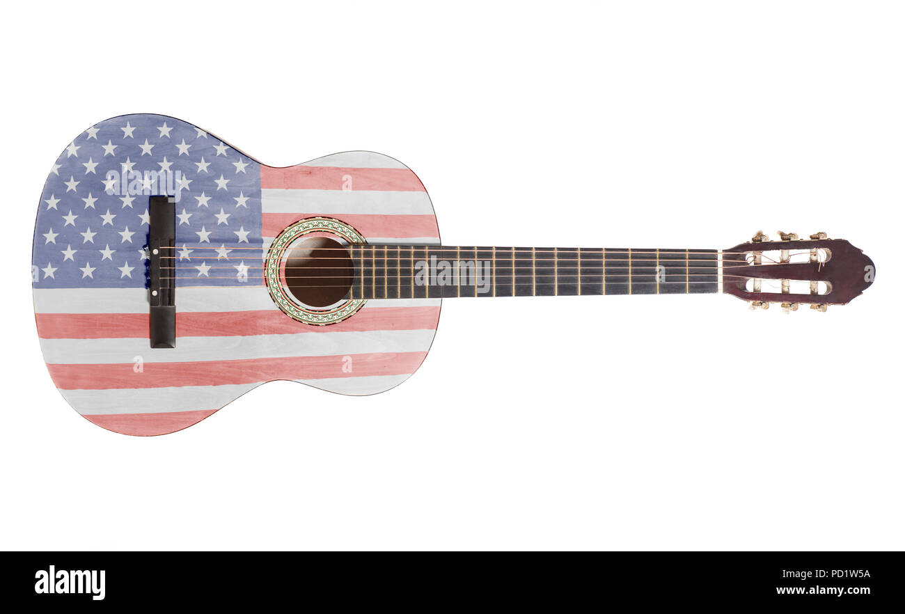 Acoustic Guitar With Usa Flag Isolated On White Background Stock