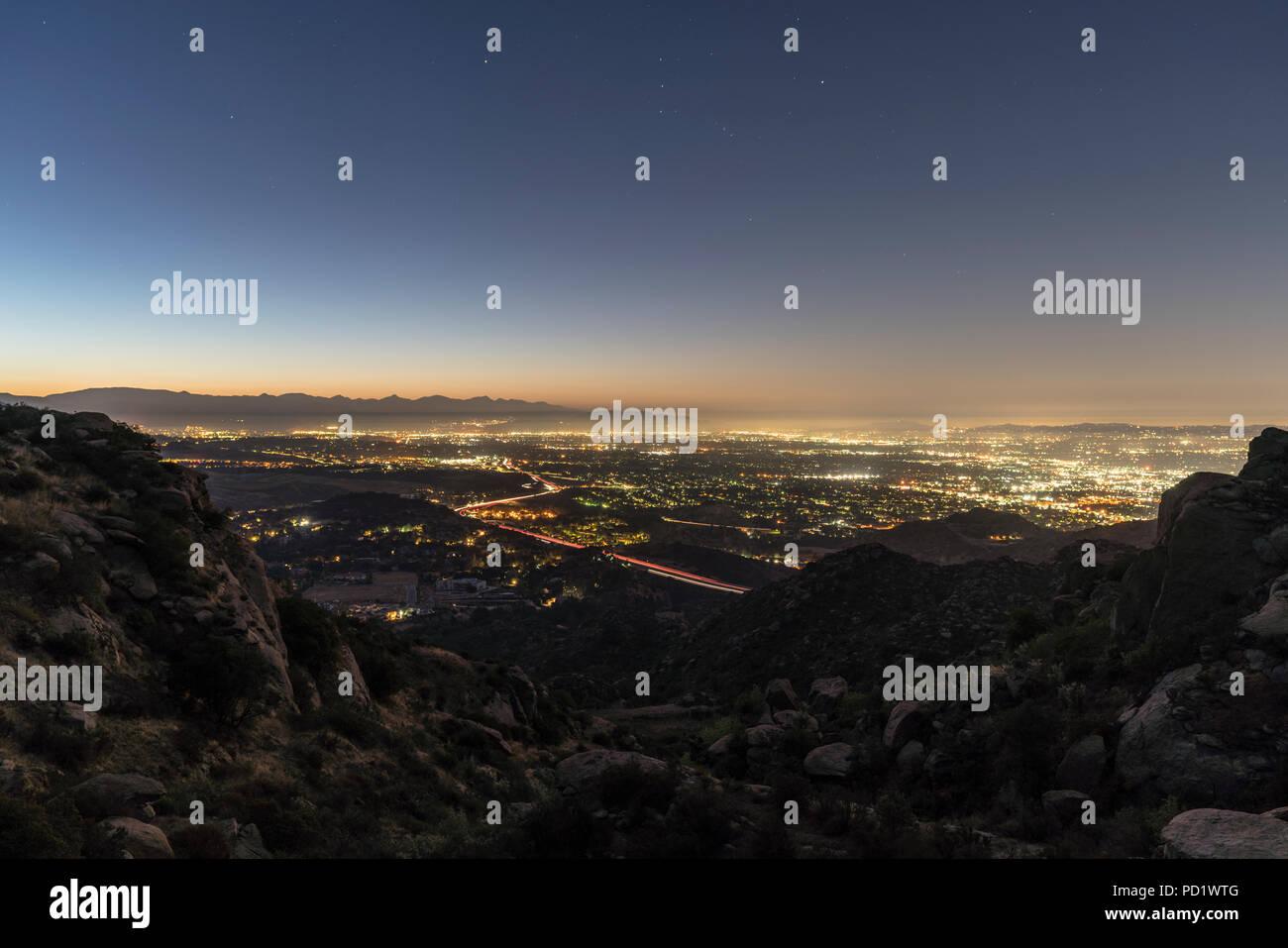 Los Angeles California Predawn San Fernando Valley View Shot From