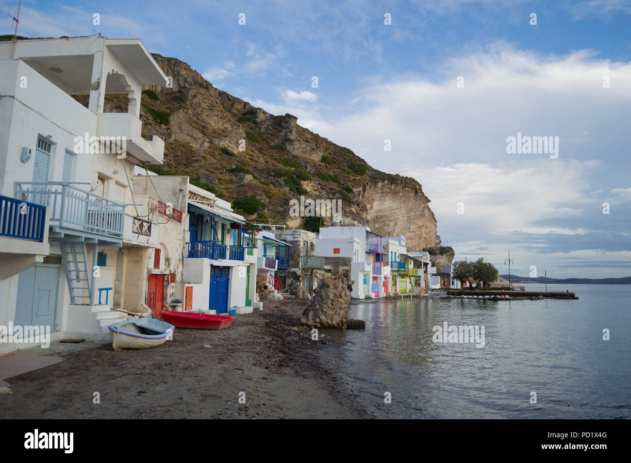 Traditional Colorful Greek Fishing Village Houses in Klima, Milos, Cyclades, Greece - Stock Image